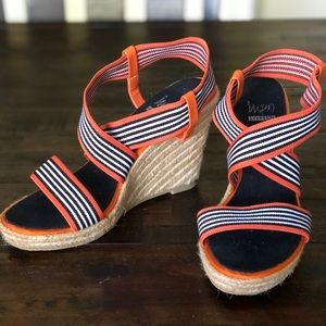 Impo Stretch Orange, black, white wedge shoes